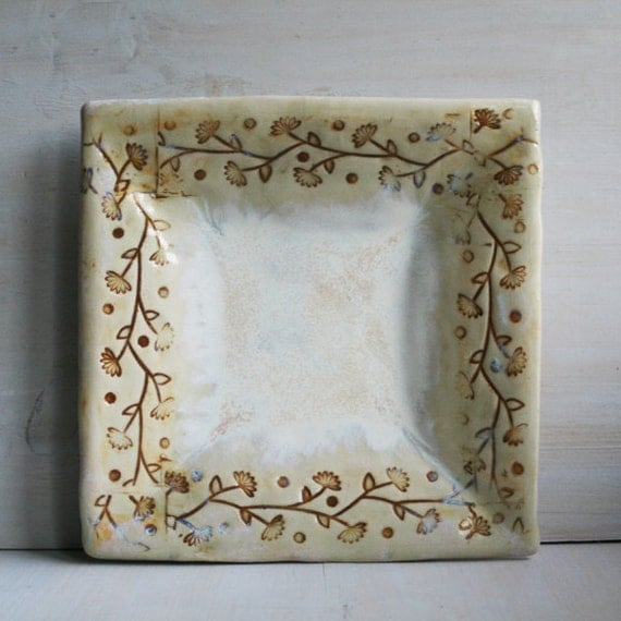 Rustic Plate - Floral White Square Plate - Serving Dish - Handmade White Ceramic Pottery - Shallow Bowl