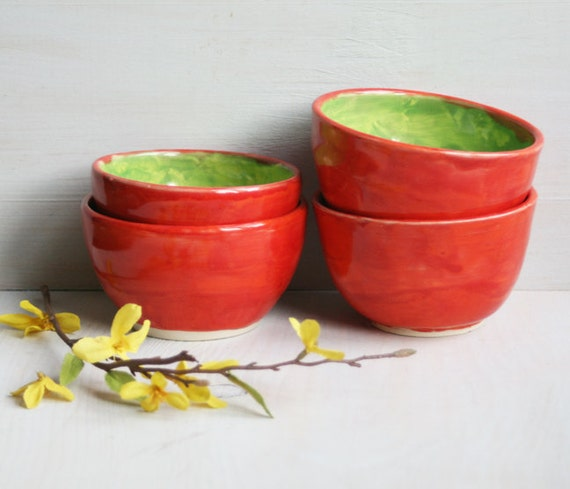 Set of Four Red and Green Stoneware Bowls - Handmade Ceramic Pottery Bowls - Pottery Clearance Sale