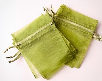 100 Organza Bags 3x4 inch, Moss Green