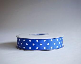 Polka Dot Grosgrain Ribbon, 25 yds. on the spool, Royal Blue, Choice of 3 sizes, 3/8ths, 5/8th, or 7/8ths