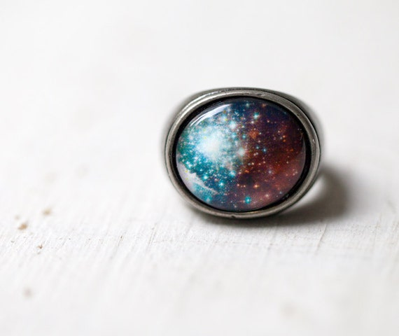Neon galaxy ring - Space ring - Nebula ring - Neon universe ring - Space jewelry - Gunmetal ring - Adjustable ring (R048)