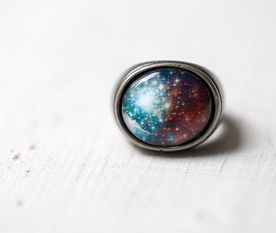 Anneau de néon galaxie - espace - nébuleuse - Neon univers anneau - espace bijoux - bague bronze - réglable anneau (R048)