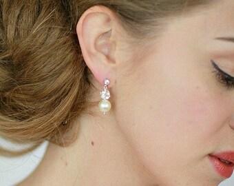 Pearl Earrings , Wedding Crystal Pearl Earrings , Swarovski White Champagne Crem Ivory Pearl Earrings, Bridesmaid Earrings