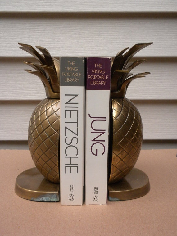 "brass pineapple bookends, heavy, 8.5"" tall, great patina"