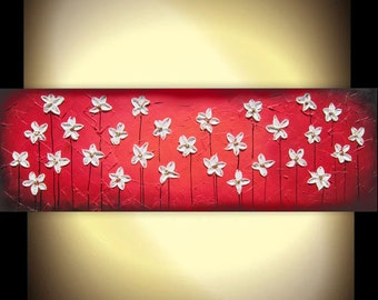 """Large painting original art contemporary abstract modern impasto knife painting of daisies 36x12x1.5"""""""