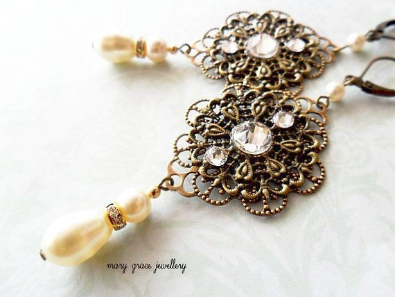 Victorian Style Filigree Bridal Earrings with Cream Swarovski Pearls and Crystals, Wedding Jewellery