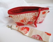 Zipper pouch Organizer Bag Red Orange Wristlet Key Ring  Coin Purse, fun little red and white pouch