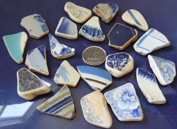 Blue and White Pottery Shards North Atlantic Ocean Tumbled Mosiac Jewellery Crafts Shard Art Beach Crafts