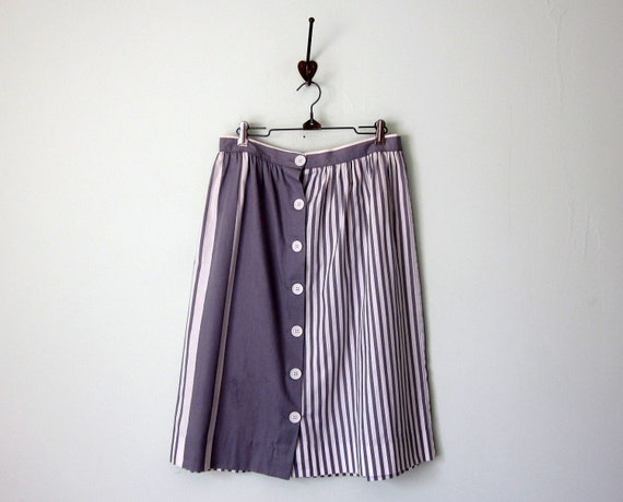 80s skirt / grey white striped button fitted waist gathered cotton (m - l)