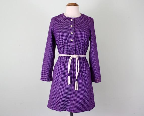 70s dress / violet polka dot long sleeve belted raglan cotton mini (s - m)