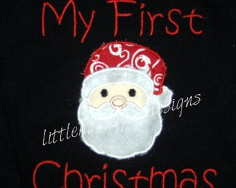 Santa First Christmas Custom Personalized Shirts Family Girls Boys Dad Mom Name Included Appliqued Embroidered