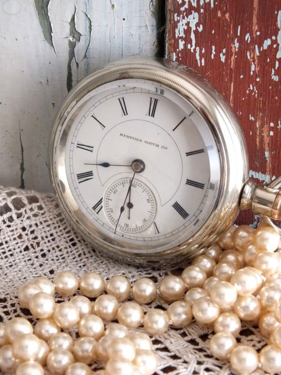 Antique Hampden Pocket Watch 1886 by avintageobsession on etsy