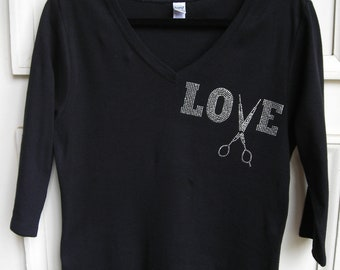 """Crystal Love with Scissors for Stylist, Three Quarter """"V"""" Neck T Shirt"""