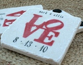Personalized Coasters - Red Love Statue Tile Coasters - Wedding Gift For the Couple - Set of 4