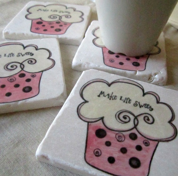 Cupcake Coasters, Set of 4, Ready to Ship