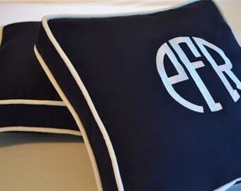 embroidery monogram pillow navy blue white ahoy boat nautical sunbrella linen cotton