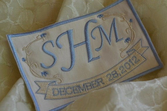 SOMETHING BLUE - Custom Embroidered Wedding Dress Label French Silk Satin and Light Blue and Beige Stitching