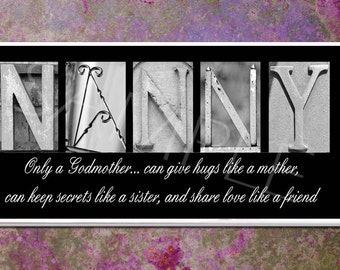 NANNY  Inspirational Plaque black & white letter art