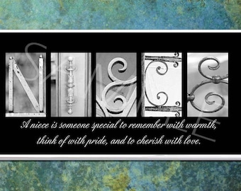 NIECE  Inspirational Plaque black & white letter art