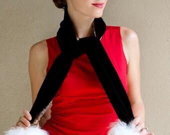 Dasher Black Velvet and Fur Long Scarf Reversible