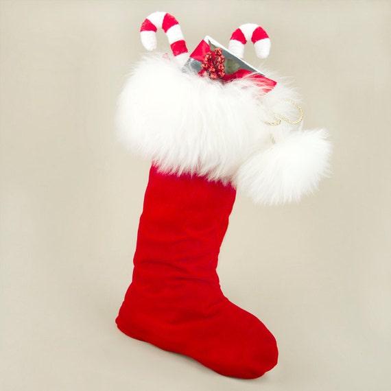Luxury Christmas Stocking in Red Velvet, Fur, Reversible