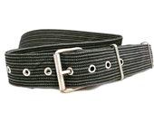 Belt for Him - Mens belt - Black and grey fabric belt - Vegan belt - Black & gray striped unique belt with metal buckle - all size