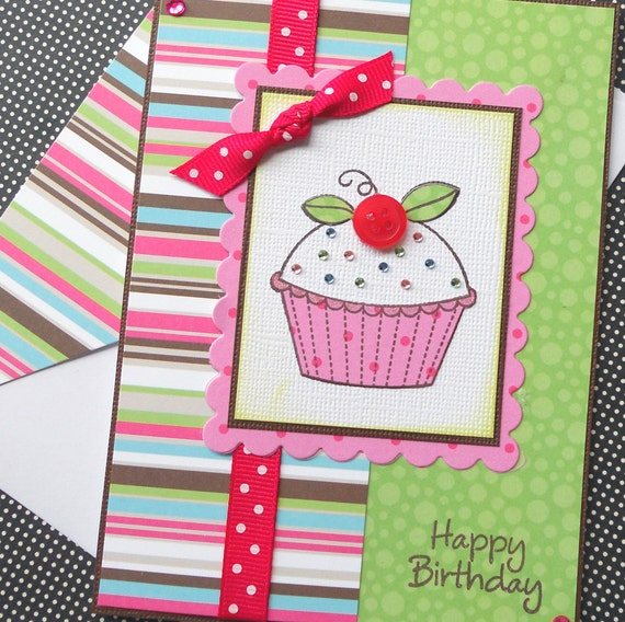 Handmade Birthday Card with Matching Embellished Envelope - Sparkle Cupcake