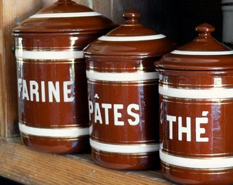 vintage French enamelware canister, Farine or Pâtes, brown with white and gold stripes