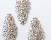 4 silver long scalloped Filigree jewelry earring charms drops . 49mm x 22mm (S102)