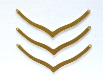 6 CHEVRON geometric jewelry pendants in brass. 42mm x 3mm (S41). Please read description