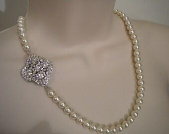 Wedding Necklace Swarovski Pearl Crystal Rhinestone Bridal Necklace Wedding Jewelry Wedding accessory PN067