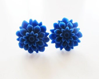Royal blue dahlia flower stud post earrings sterling silver