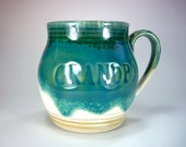 Coffee Cup, Mug, Stamped GRANDPA, Mocha, Blue, Green,  Hand Made Pottery, Ready to Ship