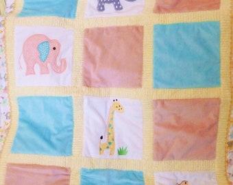 "Elephants and a Giraffe Appliqued Minky Blanket "" African Friends"""