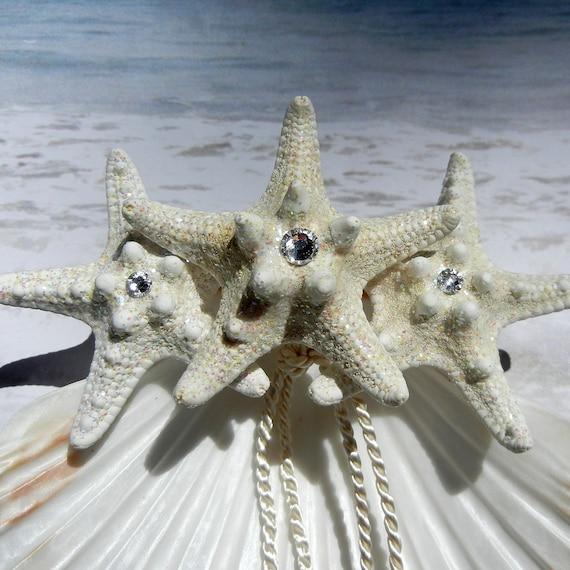Crystal Seastar -  Seashell Ring Bearer's Pillow