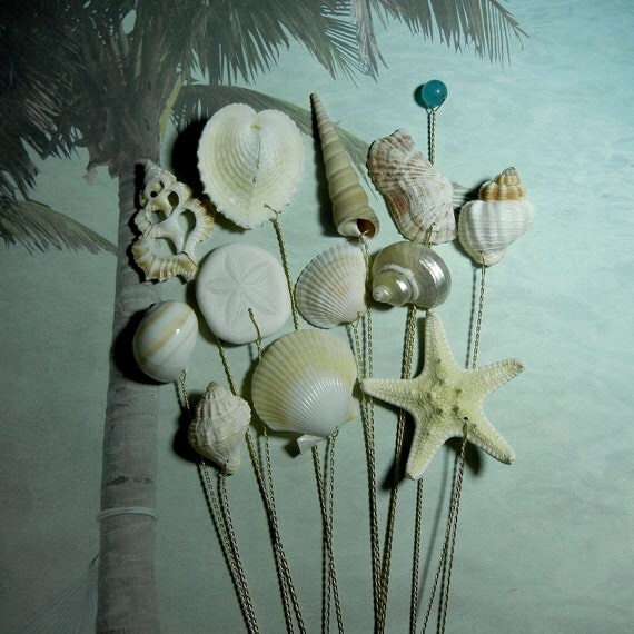 12 Seashell Stems -  Hint of Color Seashells and Starfish for Shabby Chic Bouquet Bridal Bouquet or Centerpieces