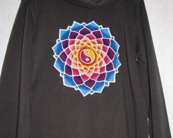 Rainbow Yin Yang Mandala Hoodie - size medium