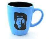 Large Mug for a Star Trek Lover, Mr. Spock on Blue