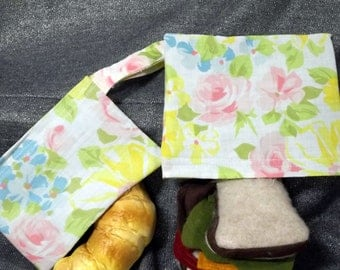 Reusable Sandwich N Snack Bag Set, Pink Roses Print