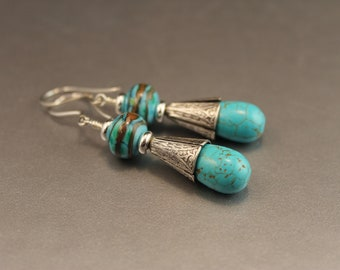 Seaside Lampwork Glass Beads and Turquoise Drop Earrings