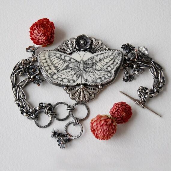 RESERVED balance- Butterfly Tatoo bracelet