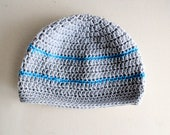 Gadget - Grey and Blue - Crocheted Hat
