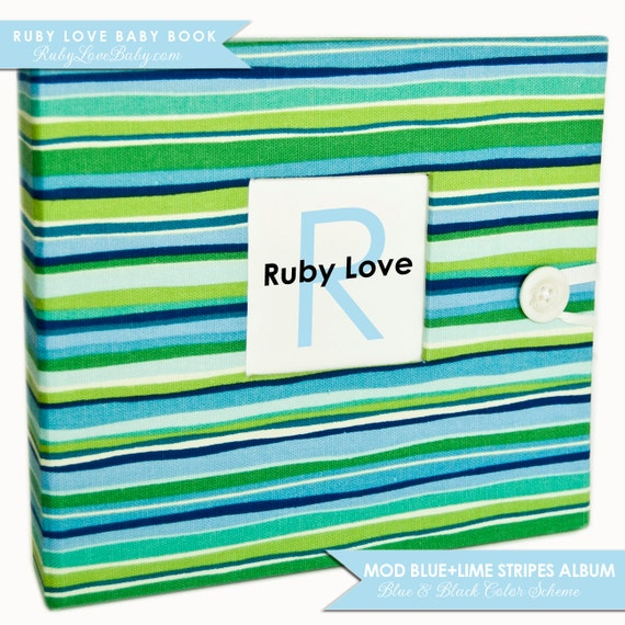 Memory Baby Book .  Ruby Love Modern Baby Memory Book and Journal . Mod Blue and Lime Stripes Album