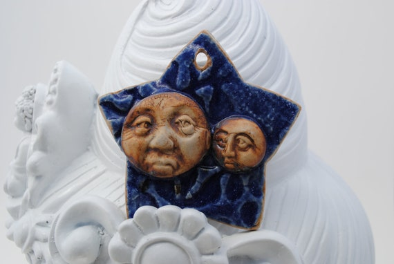 ceramic pendant clay necklace ornament small mask face cobalt star