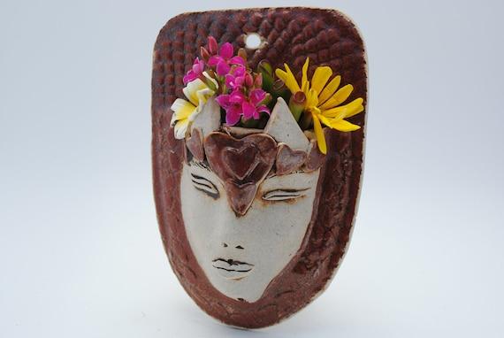 ceramic face planter garden art mask wall planter rust red head planter