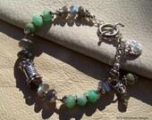 35% OFF SALE... Labradorite, Peruvian Opal Handcrafted Artisan Sterling Silver Bracelet