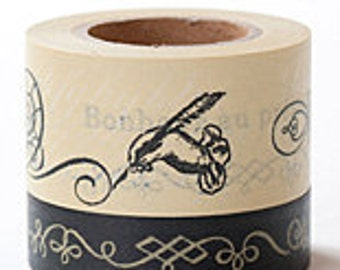 Tokyo Antique Masking Tape - French Calligraphy - Wide Set 2