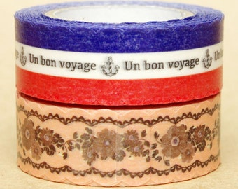 NamiNami Washi Masking Tape - French Stripes & Antique Flower Lace