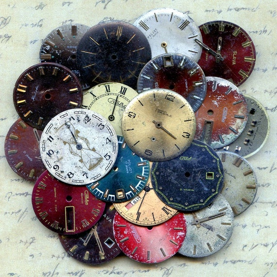 LOWEST PRICES on Etsy...20 vintage watch faces to use in your  mixed media JEWELRY or in any way you want 20-55
