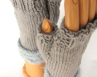 Steel Gray Hand Knit Fingerless Gloves with Fluffy Pale Blue Gray Welt Stripes